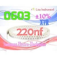 4000pcs 1 Roll 0603 220nF Multilayer Ceramic Capacitor ±10% X7R 50V