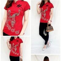 Atasan blouse cheongsam merah wanita baju fashion