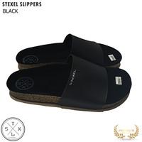 STEXEL SLIPPERS BLACK Sandal Pria Handmade Premium Original Terbaru