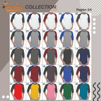 Kaos Polos Raglan 3/4 Cotton Combed 30s Size XXL Bandung