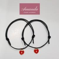 Gelang sahabat tali hitam korean design love charm 2 pcs simple gift