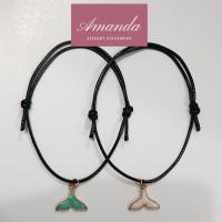 Gelang couple tali hitam korean design mermaid charm 2 pcs simple gift