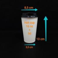 Paper cup 16oz hc + lid.