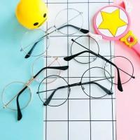 Kacamata Bulat Fashion Pria Wanita - Sunglasses Frame Lensa Transparan