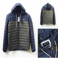 Quicksilver puffer Jacket hodie navy-olive (lengkap tag) Size M