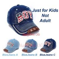 Boy Hat Topi Denim Bahan Jeans Baseball Cap Kids Anak
