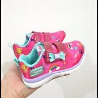 Sepatu Anak Skechers Jump Lites Pink Original / Sepatu Kets Velcro