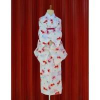 hoot sale yukata kimono anak jepang size 130 putih motif ikan mas koki
