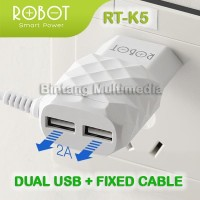 Charger Robot RT-K5 USB Adaptor HP 3 Output Casan Handphone 2.1 A Ori