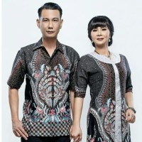 JUMBO 4L & 5L - Kemeja Batik Pria Lengan Pendek Nadhira Abu - Abu-abu, 5L