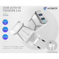 Ultimate Power Charger TC02A 2USB Auto-iD 2.4A free Micro USB Cable