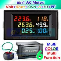 Multi Color 6in1 AC Meter Volt Watt Kwh 100A Hertz Power Factor Hz PF