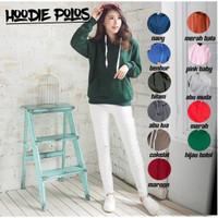 Jaket hoodie polos unisex fleece terlaris - Hijau, S