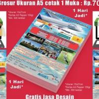 READY CETAK CEPAT BROSUR FLYER MURAH A5 15X21 1 SISI KERTAS ART PAPER