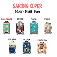 Sarung Cover Pelindung Koper Elastis Luggage Cover Character - 2 - Map World, S