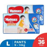 Huggies Dry Pants Popok Celana L 36 2 Pack