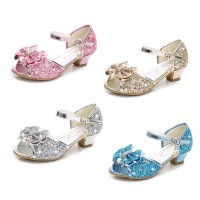 Sepatu Sandal High Heels Anak Perempuan Aksen Pita Glitter untuk Pesta