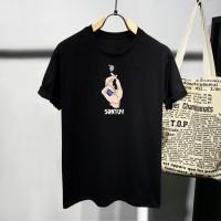 T-shirt Santuy / Baju Kaos Distro Pria Wanita Hitam Pendek Slimfit