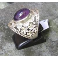 cincin perak motif simpel batu amethyst