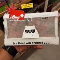 Miniso We Bare Bears Cute Ice Bear Tempat Pensil Pulpen