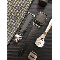 STRAP APPLE WATCH 1-5 KULIT LEATHER BAND BUTTERFLY DEPLOYMENT HERMES