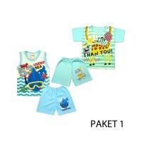 Baju bayi, Setelan pendek / singlet anak Umur 12 bulan 1 set isi 3 pcs - PAKET 4
