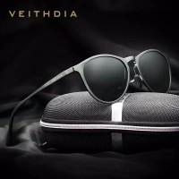 VEITHDIA kacamata Retro Aluminum Magnesium Sunglasses Polarized 6625
