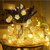 Lampu Hias Dekorasi Bola Rotan String Fairy 1.2 Meter 10 LED - B073