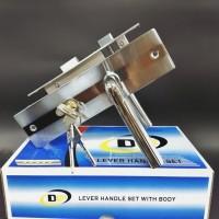 paket murah handle plat medium+lockcase kunci DLM (hs219)