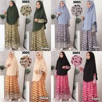 Baju Gamis Syari Syar'i Set Baju Gamis Wanita 3005 Motif Kembang