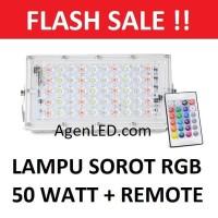 Lampu LED SOROT 50W Flood Light Lampu tembak warna warni RGB 50 w watt