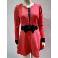 DRESS PARTY LONG SLEEVE RED WANITA I PREMIUM I MURAH