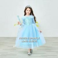 BAJUKIDDIE FROZEN SPARKLE LONG SLEEVE dress anak kostum anna elsa 2 II - Size 100