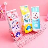Tempat pensil box pouch alat tulis bentuk unik kotak susu sekolah anak
