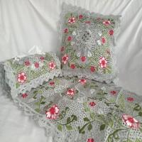 Set Sarung bantal + Taplak Meja Bordir + Sarung Tissue