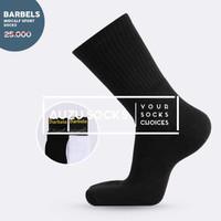 Kaos kaki sport / olahraga tebal hitam putih panjang athletic midcalf