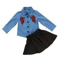 Setelan Blus Lengan Panjang Motif Bordir Bunga + Rok Denim untuk