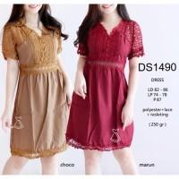 DS1490 - DRESS PESTA BORDIR BRUKAT LACE DRESS IMPORT MURAH GROSIR DRES