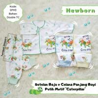 3 Setelan Baju Bayi Lengan Panjang & Celana Panjang motif Caterpillar