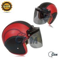 Helm Bogo kulit black red + kaca flat datar bukan jpn