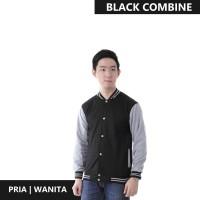 Jaket Pria Baseball Varsity Sweater Polos BLACK-GREY M- XL Best Seller