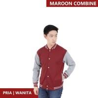 Jaket Pria Baseball Varsity Sweater Polos MAROON-GREY M- XL Best Selle