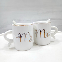 Cangkir / Mug Keramik Isi 2 Couple Mr & Mrs Starbucks Paris Set A-422