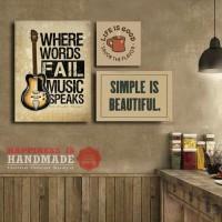 Set Hiasan Dinding |Pajangan Rumah | Cafe | Kayu MDF |Simple and Music
