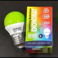 Lampu Bohlam Led Ekonomat 1 watt Hijau
