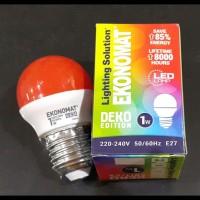 Lampu Bohlam Led Ekonomat 1 watt Merah