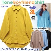 Tone Boyfriend Shirt KEMEJA WANITA POLOS BASIC SUPER BIG SIZE XXXL 3L