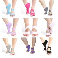 KK001 Open Finger Kaos Kaki Yoga Pilates Antislip Socks Jari Terbuka