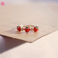 Terbaru Girl Heart Strawberry Open Ring Simple Wild Student