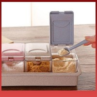 Pm 4 Grid Plastic Wheat Straw Flip Drawer Type Spice Jar